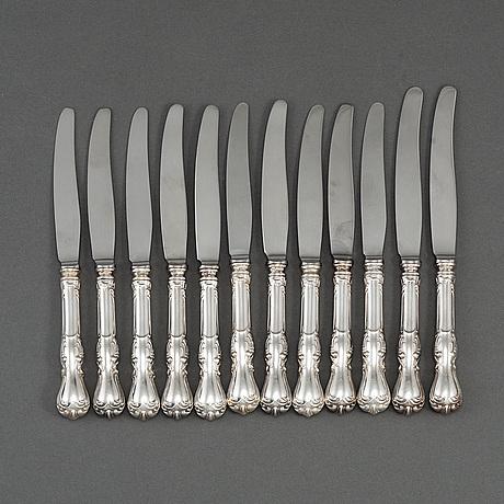 12 'prince albert' silver knives, gab, some eskilstuna 1978.