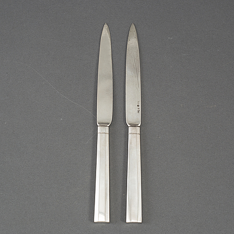 Pehr zethelius, 6 silver fruitknives,  stockholm, early 19th century.