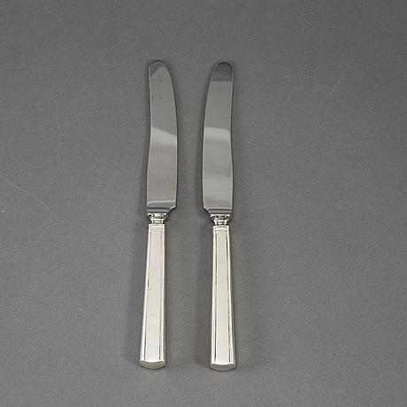 David andersen,  12 st silver knives, stockholm 1913.