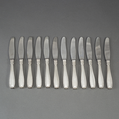 12 silver art déco knives, denmark, most 1930s.