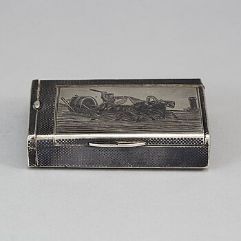 A Russian parcel-gilt silver and niello box, mark of Nicolai Kemper, Moscow 1882.