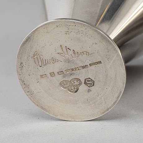 Wiwen nilsson, 4 sterling silver vodka cups, lund 1963.