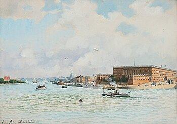 341. Anna Palm de Rosa, Vy över Stockholms slott.