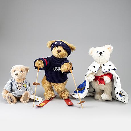 "Steiff, three teddybears, ""teddybär könig ludwig mit schwan"" ""reinhard the schulte centenary"" & ""deutschlandbär 2000""."
