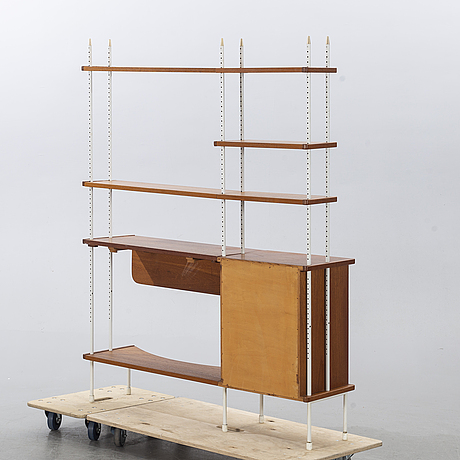 """A 1950/60:s teak bookshelf, writing desk and drawers, """"prydo"""" by the brothers gustavssons furniture factory in viserum."""