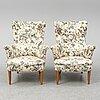 Carl malmsten, a pair of 'furulid' easy chairs.