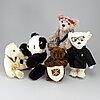 """Steiff, five teddy bears, """"giengen an der brenz"""", toots thielemans bear"""", """"victor the adventurer teddy bear"""" etc."""