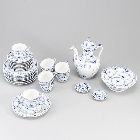 """Royal copenhagen, kaffeservis, 20 delar, porslin, """"musselmalet"""", danmark."""