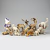 Steiff, a collection of 11 vintage plush animals, germany.