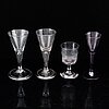 Four wineglasses, 18th-19th century.