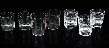 7 water glasses, 19/20th century.