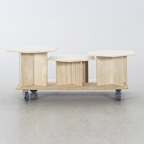 Three second half of the 20th century side/coffee tables in travertine.