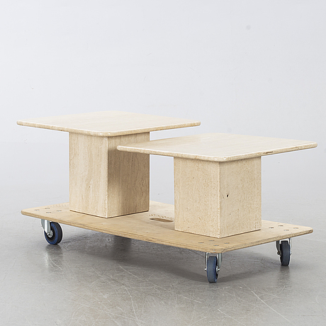 Two travertine coffee tables/side tables, second half of the 20th century.