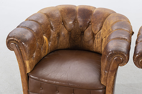 A pair of armchairs, mid 20th century.