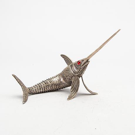 A mid 20th century spanish silver sword fish.