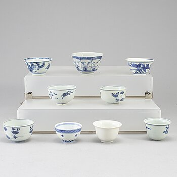 Nine blue and white cups, Ming and early Qing dynasty.