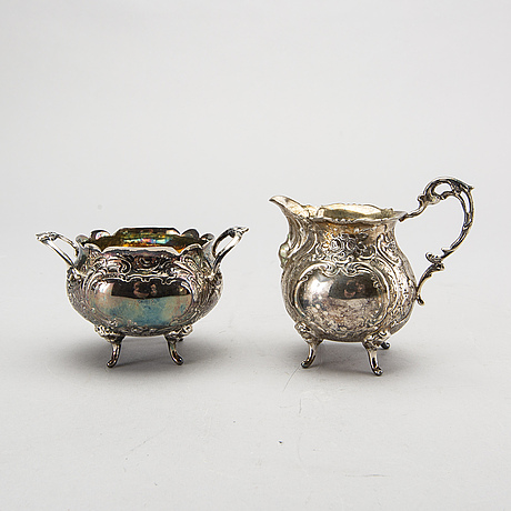 Kaffeservis, 3 delar, silver,  rokokostil.