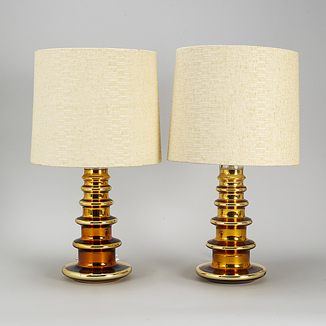 A pair of glass table lamps, attributed to gustav leek, orrefors, 1960s.
