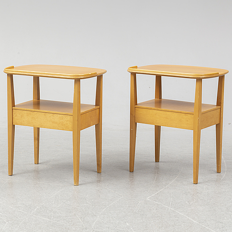 A pair of bedside tables, nordiska kompaniet, probably 1940-50s.
