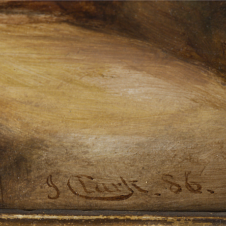 Joseph clark, oil on paper-panel, signed and dated -86.