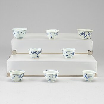 Eight blue and white cups, Ming dynasty (1368-1644).