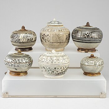 Six ceramic jars with covers, South East Asian, presumably 16/17th, also 19th century.