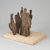 Evert lindfors, an earthware  sculpture group, signed under the base.