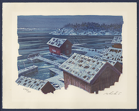 Roland svensson, lithograph in colours, 1977, signed 278/360.