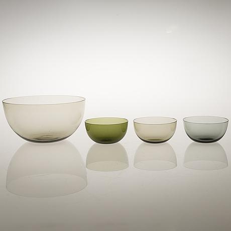 Kaj franck, kaj franck, a set of seven mid-20th century dessert bowls model 1340 and a bowl for nuutajärvi notsjö.