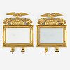 A pair of two-light mirror girandoles, swedish, first half of the 19th ct.