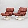 """YrjÖ kukkapuro, fåtöljer, ett par, """"saturnus c"""", haimi 1970-tal."""