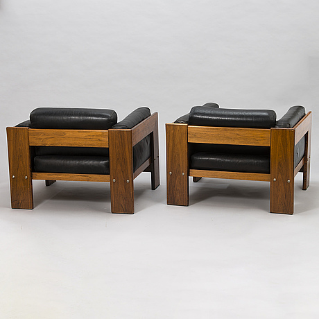Tobia scarpa, a pair of late 1960's 'bastiano' arm chairs for haimi.