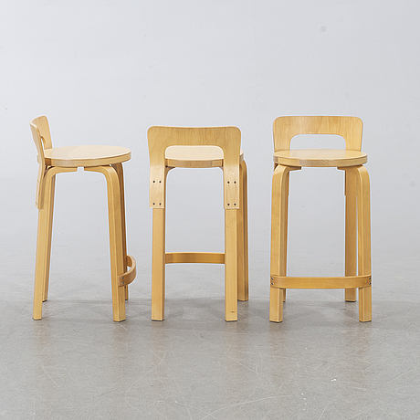 Alvar aalto,  three bar chairs, modell k65, later part of the 20th century.