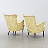 """Carl malmsten, a pair of """"stora furulid"""" armchairs, second half of the 20th century."""