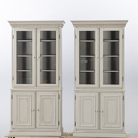 A pair of display cabinets, mid 20th century.