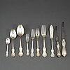 Cg hallberg and gab, a part 'olga' silver cutlery, 1948-1978 (112 pieces).