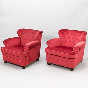 CARL-JOHAN BOMAN, A pair of 1940s armchairs 'London' for Oy Boman Ab, Finland.