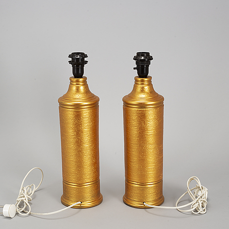 A pair of late 20th century ceramic table lights from bitossi, italy.