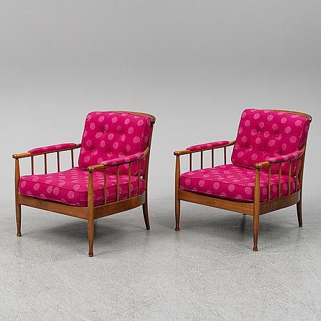 A pair of 'skrindan' easy chairs by kerstin hörlin-holmquist.