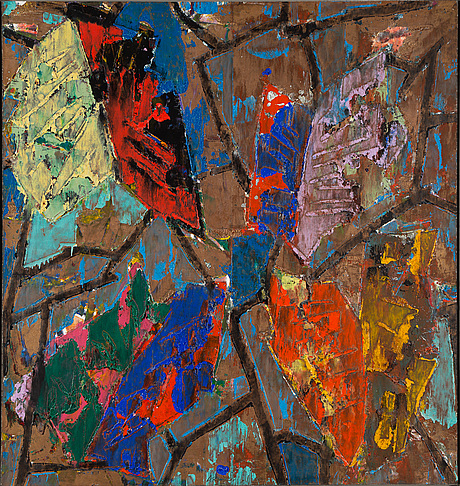 Charles arnoldi, monotype on canvas, signed and dated 1989.