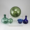 Five glass objects, 20th century.