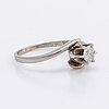 Ring 14k whitegold w 1 brilliant-cut diamond approx 0,35 ct.
