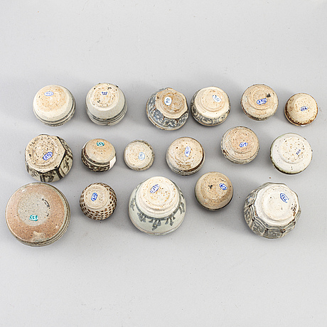 17 ceramic miniatures, south east asia, 18th/19th century.