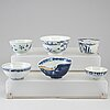 Six blue and white bowls, ming dynasty as well as south east asia, 17th-19th century.