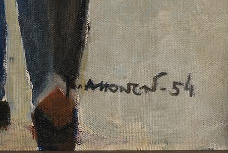 Kosti ahonen, öljy kankaalle, signeerattu ja päivätty -54.