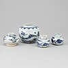 Four blue and white jars, presumably ming dynasty (1368-1644).