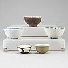 A group of five blue and white and cappuciner bowls and cups, ming and qing dynasty, 18th century.