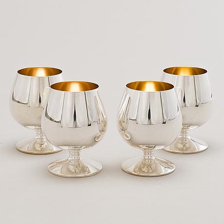 A set of four silver cognac glasses, kultakeskus, hämeenlinna, finland 1996 and 1999.