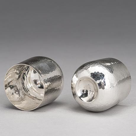 Tapio wirkkala, a 6-piece set of silver beakers, marked tw, kultakeskus oy, hämeenlinna, finland 2006-2012.