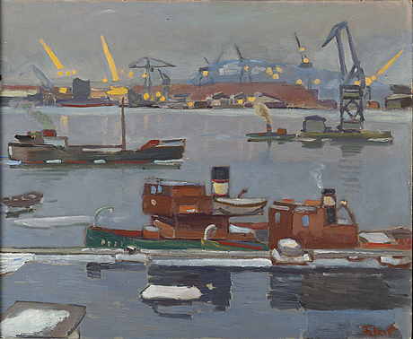 Folke persson, oil on panel, signed. dated 1957 verso.
